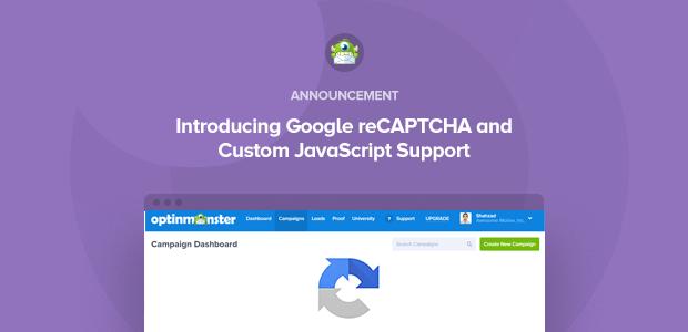 introducing google recaptcha and custom javascript support