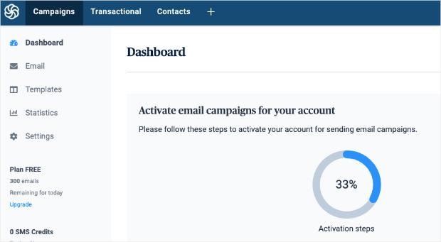 sendinblue dashboard