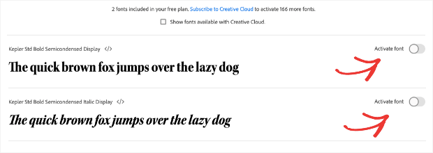 Activate font family subfonts