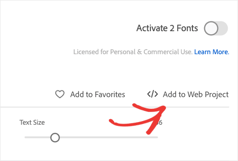 Add to web project adobe fonts