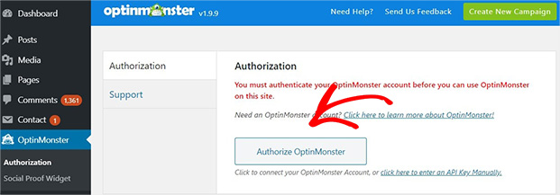 Authorize OptinMonster in WordPress