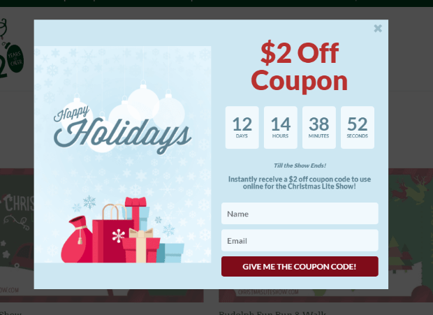 Christmas Light Show eCommerce popup