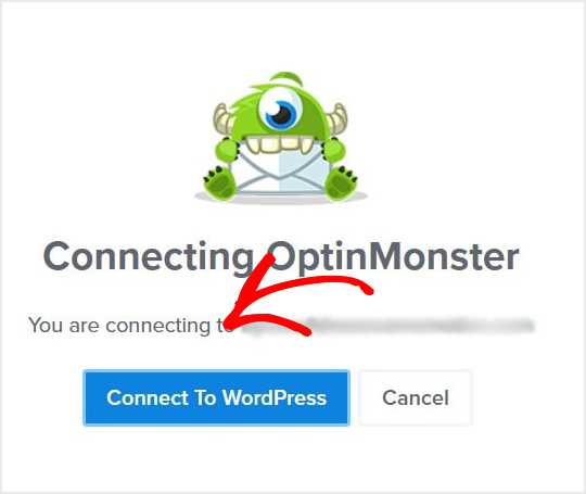 Connecting to WordPress screen message