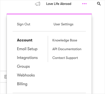 Drip Account from Dashboard