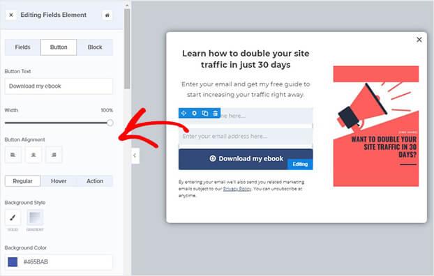 Edit HubSpot popup button