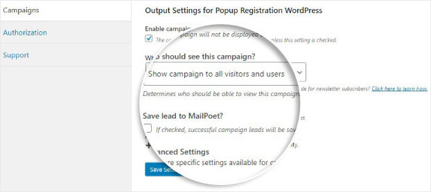Edit output settings for WordPress Registration Popup