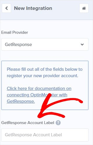 GetResponse integration name