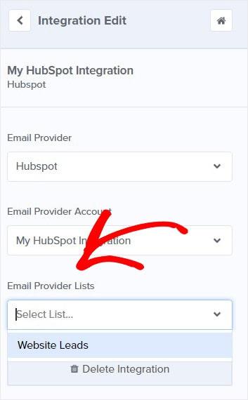 HubSpot Email Static List OptinMonster