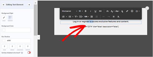 Inline text editor registration form in WordPress