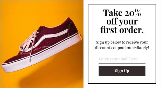 Keap popup shoe store discount
