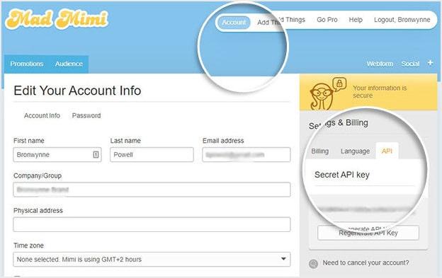 Mad Mimi Account Dashboard