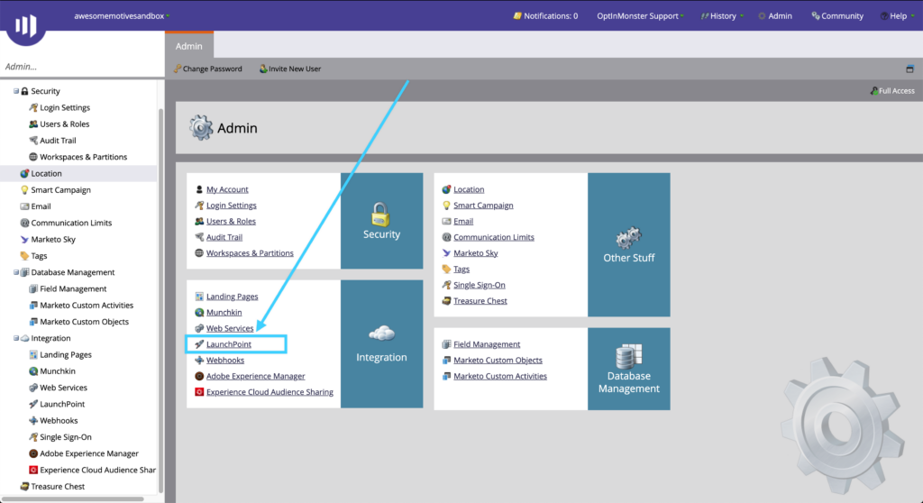 Select Launchpoint from the Marketo Integrations screen