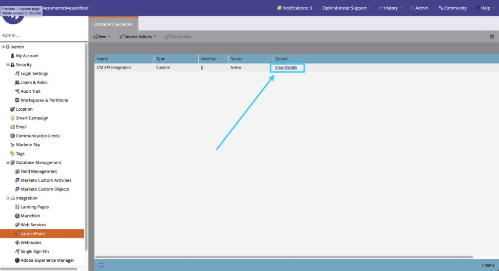View Details of your Marketo integration