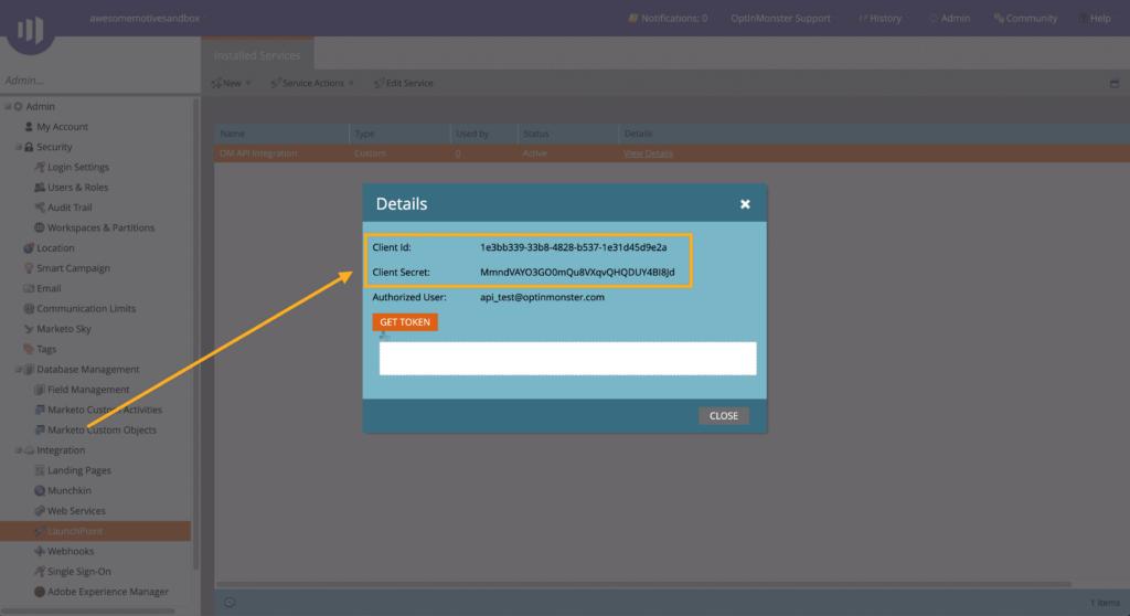 Copy API Details from Marketo for OptinMonster
