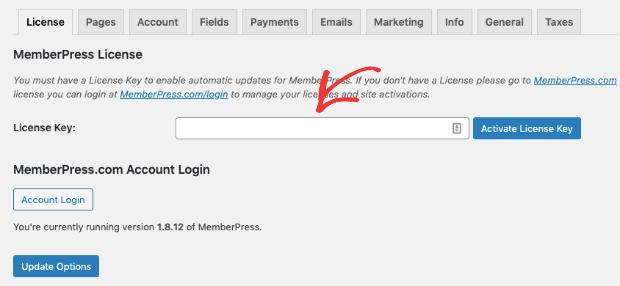 Clé de licence MemberPress