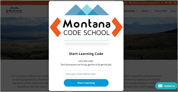Montana Code School popup