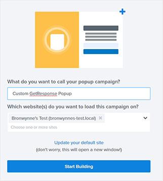 Name Getresponse popup campaign