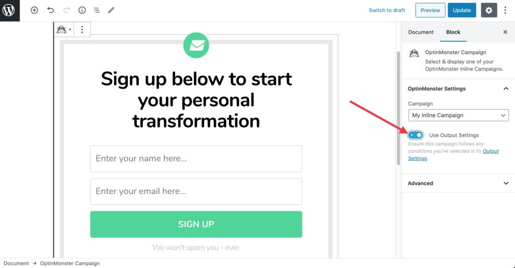 Comment insérer une campagne OptinMonster en utilisant un bloc Gutenberg pour WordPress