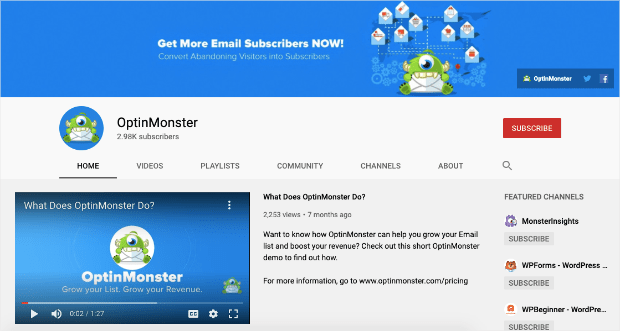 OptinMonster YouTube Homepage