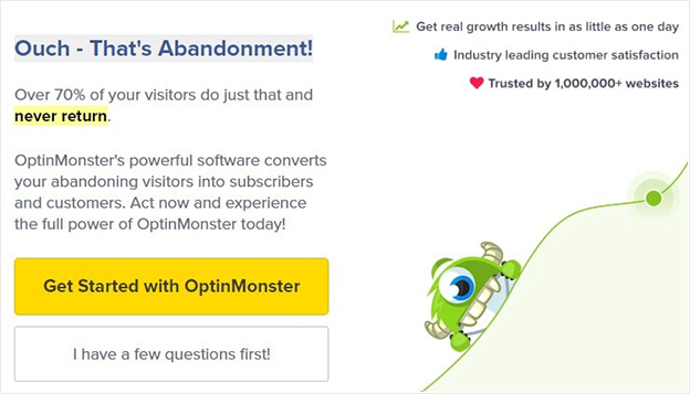 OptinMonster exit intent popup example -min