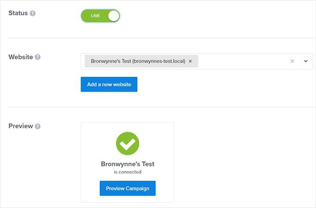 OptinMonster publish screen
