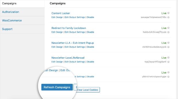 Rafraîchir les campagnes Tableau de bord de l'OM