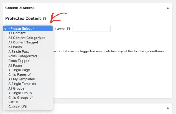 Sélectionnez le contenu à verrouiller pour votre paywall dans memberpress