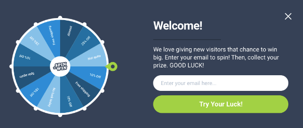 Spinwheel welcome message example