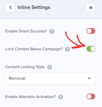 Toggle switch to lock content