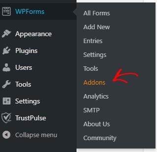 WPForms Addon menu