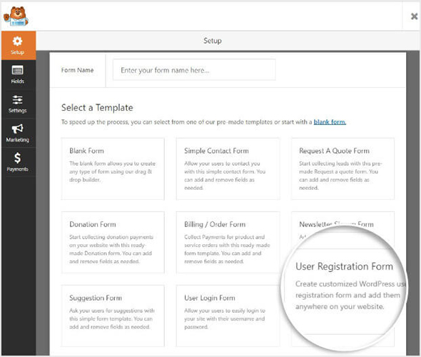 WPForms Builder User Registration Select