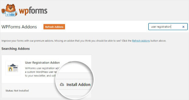 WPForms User Registration Addon Install