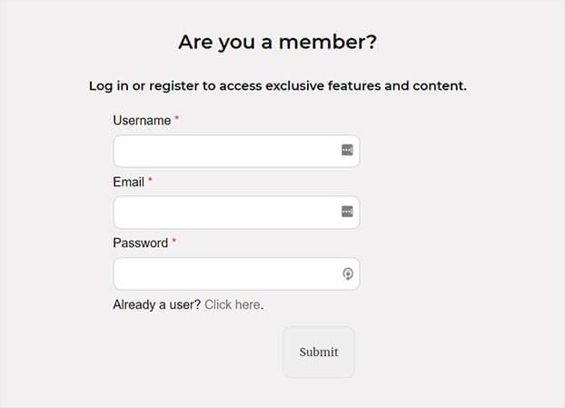 WordPress Popup Registration