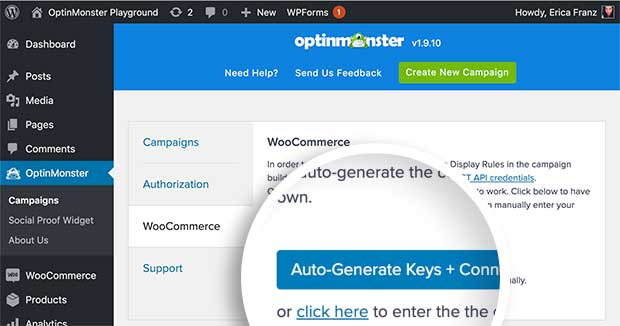Auto Generate WooCommerce Keys and connect to OptinMonstera