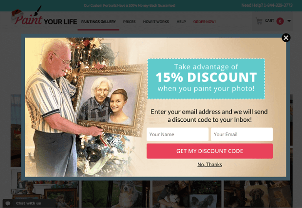 Paint Your Life eCommerce Popup Example