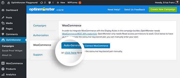Manually connect OptinMonster with WooCommerce