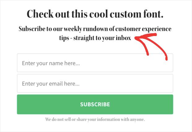 custom font not on website demo