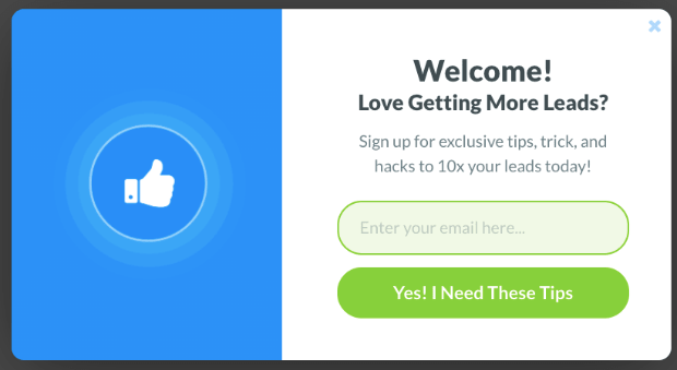 popup welcome message example