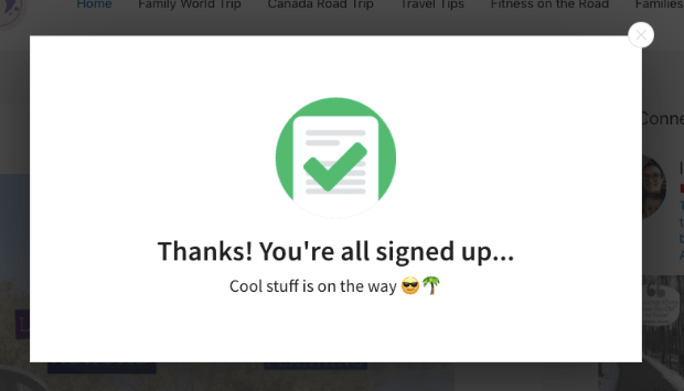 thank you popup