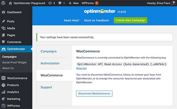 WooCommerce successfully connected with OptinMonster.