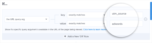 Add URL query argument key and value