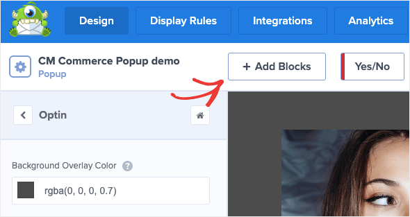 Add block to CM Commerce Popup Demo
