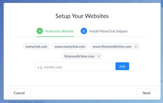 Authorize ManyChat website