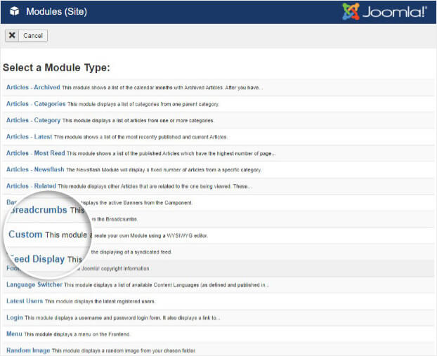 Choose custom module in Joomla