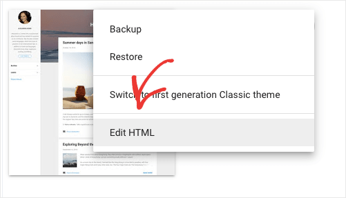 Modifier le Blogger HTML