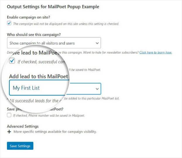 Edit Output Settings Choose List