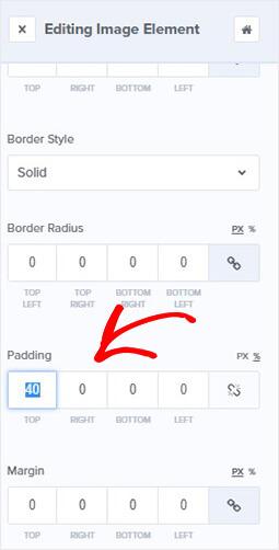 Edit image padding OptinMonster builder