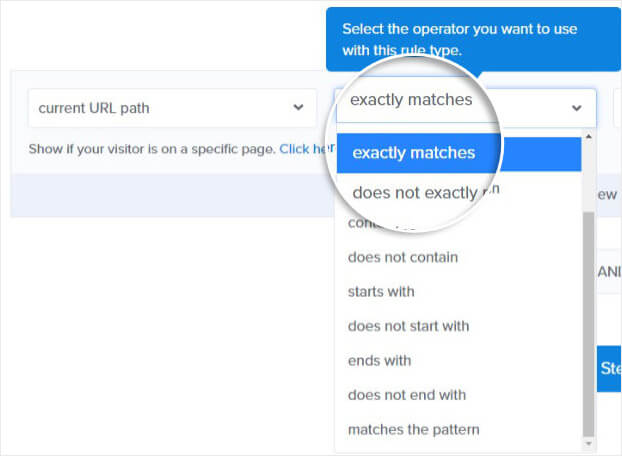 Exit Intent Popup Exact Match URL