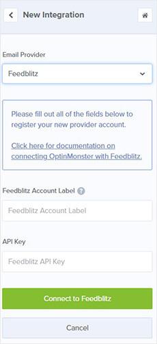 Détails du compte FeedBlitz pour l'intégration d'OptinMonster