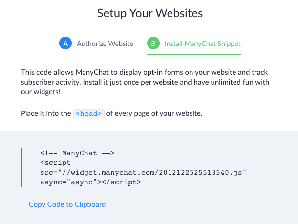 JavaScript Snippet from ManyChat